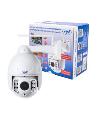 Camera supraveghere video PNI IP652W WiFi PTZ 1080p 2MP 5X Zoom optic H265 slot microSD Night Vision 50m IP66 Alarma det